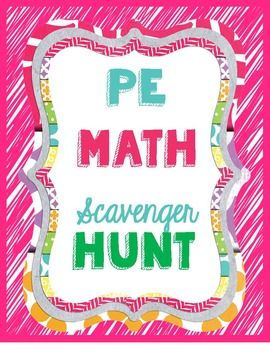 From the Gym PE Creations: Physical Education Math Scavenger Hunt Station activity. Full instructions and station signs included