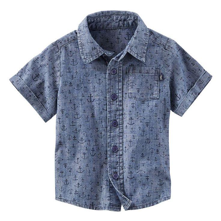 Toddler Boy OshKosh B'gosh® Anchor Pattern Chambray Button-Down Shirt, Size: 4T, Ovrfl Oth