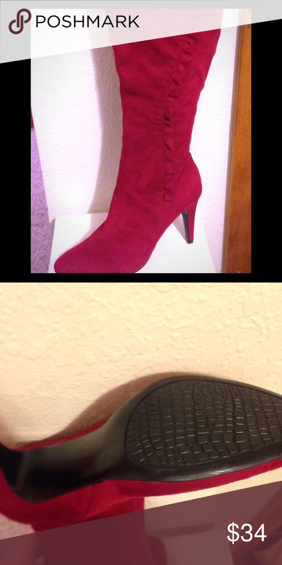 Red Knee High Boots Red faux suede knee high boots. Size 8. Never worn out of the house. Shoes Heeled Boots