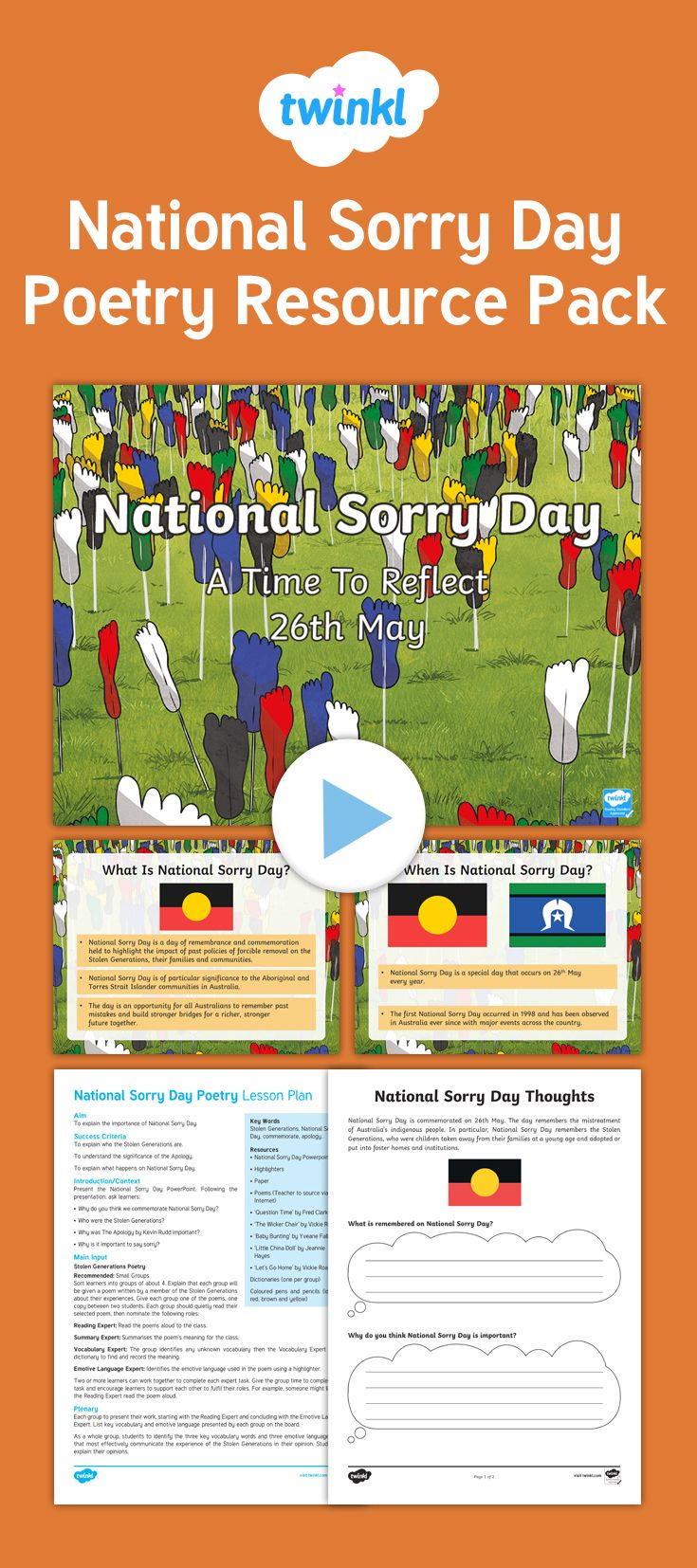 National Sorry Day is an Australia-wide observance held on May 26 each year. This day gives people the chance to come together and share the steps towards healing for the Stolen Generations, their families and communities. Stolen generations refer to Indigenous Australians who were forcibly removed from their families and communities. This Sorry Day and aboriginal poems resource pack lets your class explore this topic through poetry.