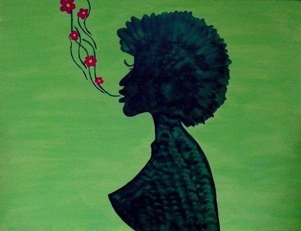 Flowers from heart. By Ieva Krivma. Acrylic. 30x40 cm. Pressed cardboard