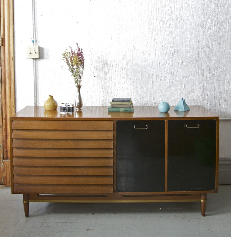 RESERVED Mid Century Modern American Of Martinsville Dania Collection  Credenza / Sideboard / Bar Cabinet With Black Lacquered Cabinet Doors