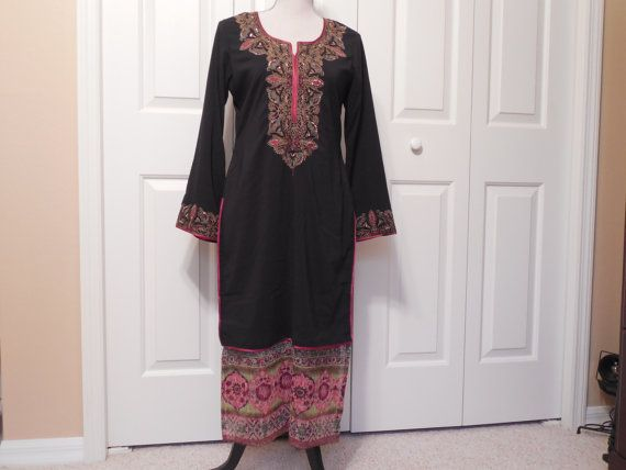 Vintage Moroccan Kaftan Dress Black With Gold by AllycatAttic