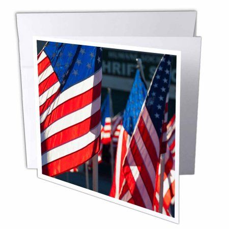 3dRose USA, Arkansas, Heber Springs, USA, flags, Greeting Cards, 6 x 6 inches, set of 12