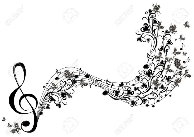 Musical notes with butterflies royalty free cliparts for Note musicali dwg
