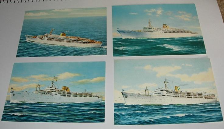 SET 4, 1950's SHIP POSTCARDS~FAIRSTAR~FAIRSKY~FAIRSEA~CASTEL FELICE~UNUSED~VGC | eBay