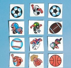 Soccer Glitter Tattoos.  Fun to wear! Include these sporty tattoos in goody bags at your next birthday party or sleepover. Easy to apply and remove. Non-toxic. 5cm