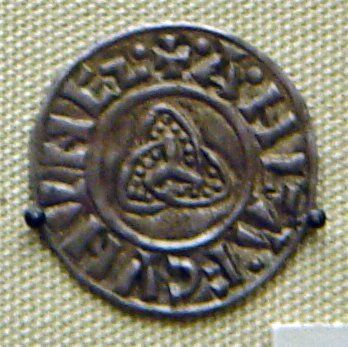 Viking coin minted in Jorvik. 10th century. Note the triskle