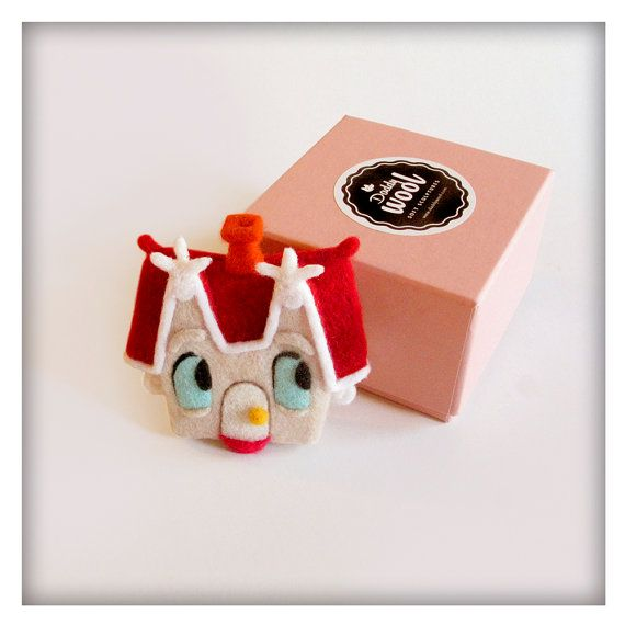 The Little House Bag Brooch, Needle Felting, Wearable Art, Soft Sculpture, one-of-a-kind, OOAK