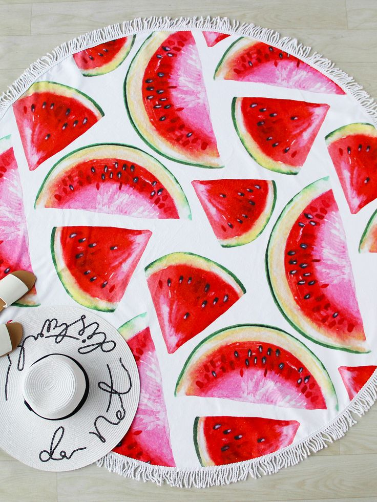 Shop Watermelon Slice Print Fringe Trim Round Beach Blanket online. SheIn offers Watermelon Slice Print Fringe Trim Round Beach Blanket & more to fit your fashionable needs.
