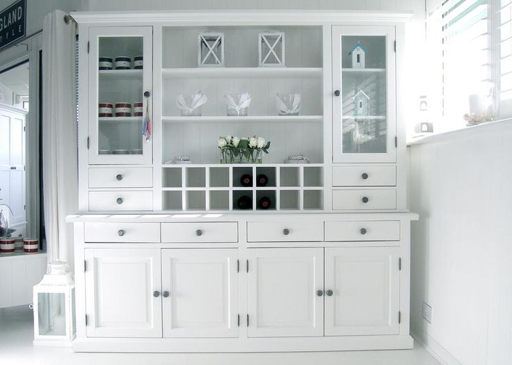 New England White Dresser With Glass Doors FurnitureDoor FurnitureDining Room