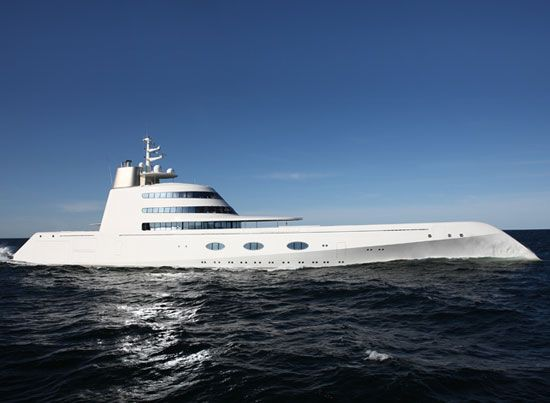 Philippe starck designed motor yacht A with martin francis for russian billionaire   andrey melnichenko. built by blohm+ voss motor yacht A is 119 meters long and weighs   approximately 5500 tonnes. reminiscent of a submarine warship the mega yacht's name  is a tribute to andrey melnichenko and his wife serbian fashion model aleksandra nikolic.