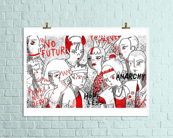 A3 Punk Rock Art Print / Anarchy in the UK Wall Art / Red Punk