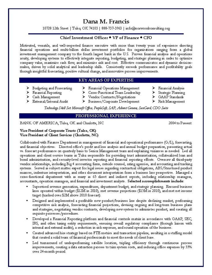 37 best ZM Sample Resumes images on Pinterest Sample resume - investment officer sample resume