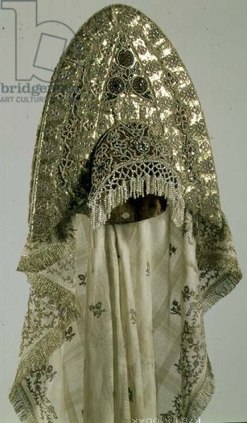 Kokoshnik (head-dress) from a woman's festive national costume, Russian, second half of the 19th century (cloth, galloon, embroidery, muslin) (see also 74554) location Hermitage, St. Petersburg, Russia medium cloth, galloon, muslin and embroidery date 19th (C19th)