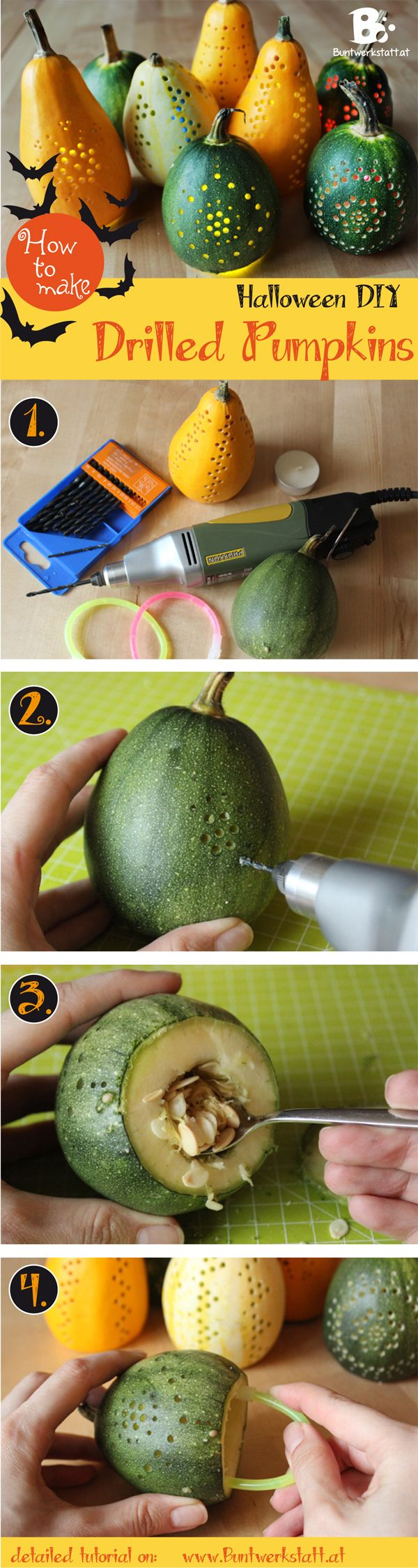 How to make drilled Halloween Pumpkins! #craft An easy and fun alternative to pumpkin carfing ~ Buntwerkstatt.at