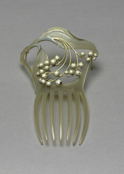 Lily of the Valley Hair Ornament by Rene Lalique, circa 1900. Horn, enamel and gold. From the online collections of the Cleveland Museum of Art