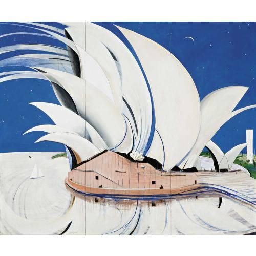 """""""Opera House"""" by Brett Whiteley. Oil, canvas, cardboard, collage, shell and ink on board."""