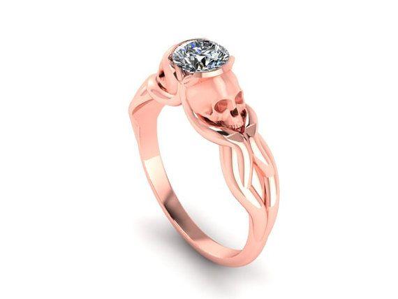 Vapor Skulls Engagement Ring with Half Carat por adamfosterjewelry