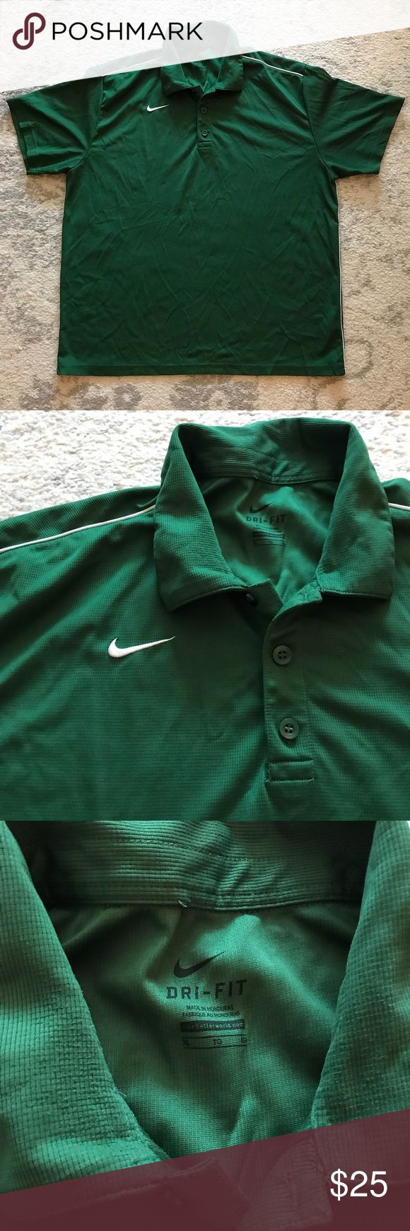 Green Men's Nike Dri-Fit golf polo shirt Green Men's Dri-Fit golf collared polo shirt from Nike. The shirt has a white piping stripe running down each side, as well as a white piping stripe running across each shoulder. The Nike swoosh logo is stitched onto the front right chest of the shirt in white. The shirt is 100% polyester. Three buttons run down from the top collar. Excellent Dri-Fit wicking material. In great condition! Perfect for playing golf or any other athletic activity, or even…