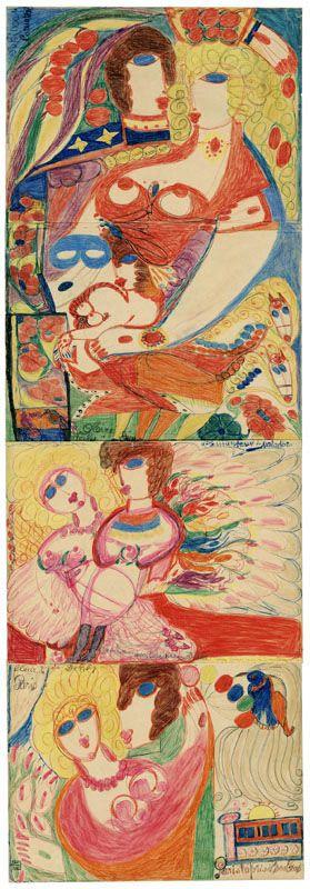 «Lit à la de Coppet», septembre 1949, gouache, pâte dentifrice, crayons de couleur et mine de plomb sur papier d'emballage et imprimés cousus, 60,3 x 59 cm. (Galerie Krugier & Cie, Genève/Pro Litteris)
