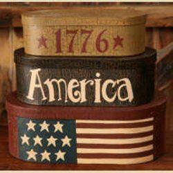 Primitive Country Stacking Box Set - 1776 - American Flag - Decorative - Americana