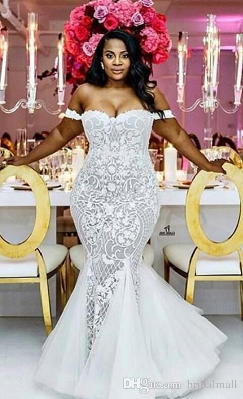 Luxurious Plus Size Wedding Dresses Mermaid 2018 Vintage Appliqued Champagne Court Train Off Shoulder Zipper Back Bridal Gowns Custom Made Pretty Mermaid Wedding Dresses Cheap Lace Mermaid Wedding Dress From Bridalmall, $189.05| DHgate.Com