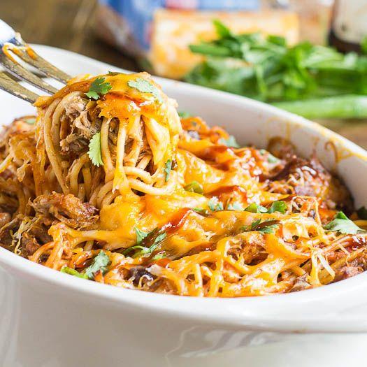 BBQ Spaghetti Casserole. I'll use zucchini pasta in place of reg pasta.
