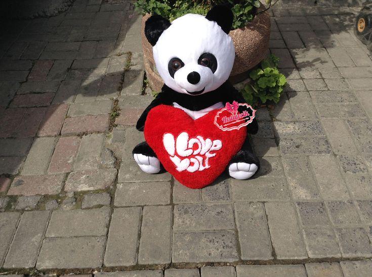 Peluş Panda 60 cm Love Aşk Anahtarlı Kalpli set