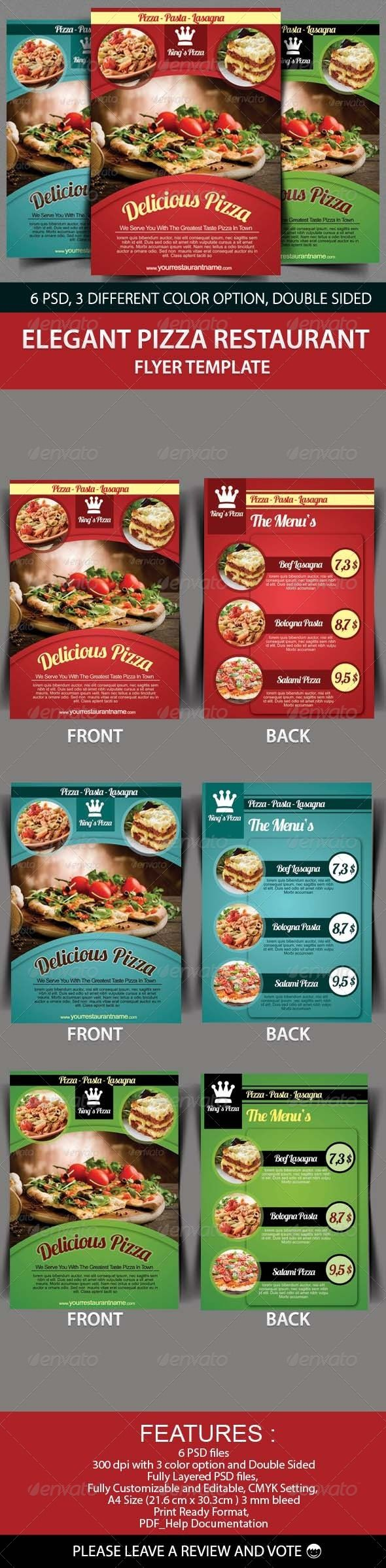 Elegant Pizza Restaurant Flyer Template - Restaurant Flyers