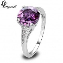 LINGMEI Silver Round Cut AAA Multi-Color C Zirconia Engagement Ring