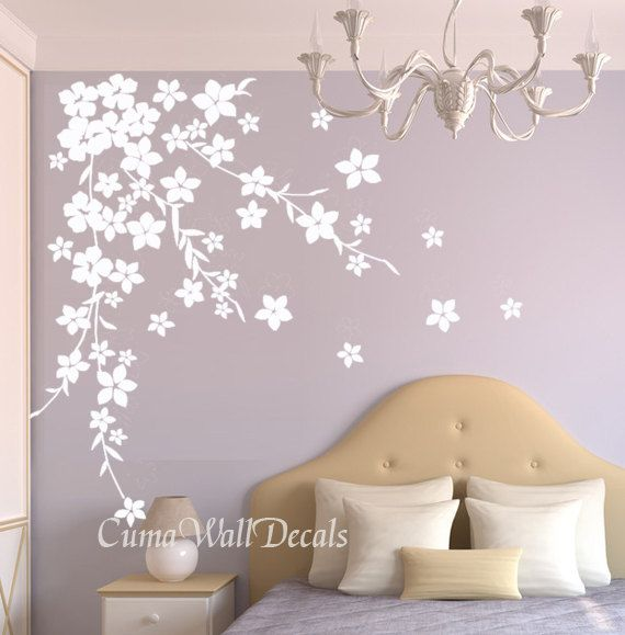 white cherry  blossom wall decals flower vinyl wall decals tree nursery wall decals sticker children wall decal- cherry blossom Z125 cuma. $45.00, via Etsy.