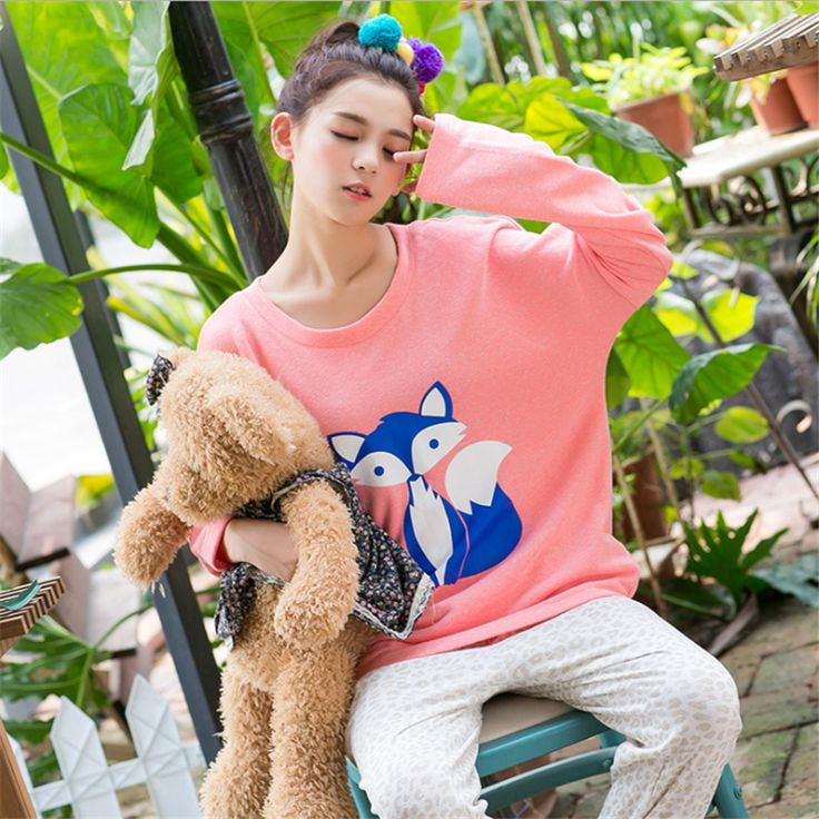 GRLBOBRA 2016 Autumn Winter Knitted Cotton Pajamas Sets Women Cartoon Fox Printed Homewear Long-sleeve Pyjamas Sleepwear S0019