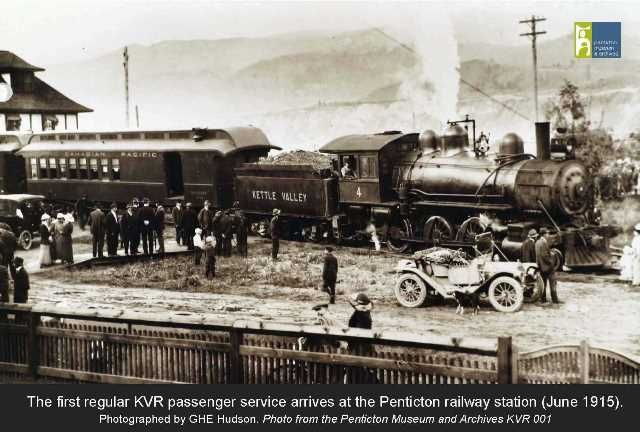 The first KVR passenger train arrives at the Penticton Railway Station (June 31st 1915). Photo by GHE Hudson - From the Penticton Museum and Archives.