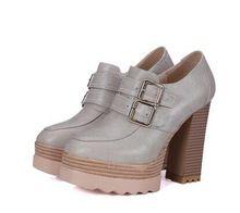 Nueva Primavera Otoño Zapatos de Punta Redonda Hebilla de Bombas de Las Mujeres Gruesas de Tacón Alto Zapatos de Plataforma Femeninos Ocasionales De Madera Zapatos de Fiesta BAOK-91cb(China (Mainland))
