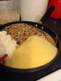 Easy Suet Recipe To Feed The Birds: 1 cup lard, 1 cup crunchy peanut butter, 1/3 cup sugar, 2 cups quick cooking oats, 2 cups cornmeal, 1 cup flour, 1 cup birdseed Directions: Melt lard and peanut butter. Add sugar to the melted mix. Combine the remaining ingredients. Form blocks and freeze. Use recycled aluminum foil to freeze the mixture. The suet does not stick to the tin foil and you can use it over and over.