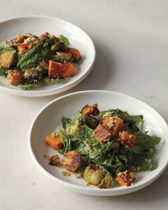 Butternut squash, Brussels sprouts, and baby spinach bring the sweets. Quinoa provides the nuttiness. Here is a great example of a solid team working together.
