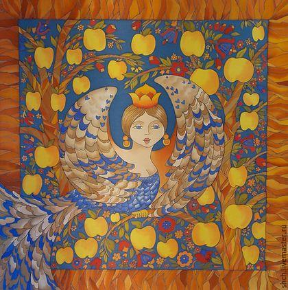 В средневековых русских легендах Сирин однозначно считается райской птицей, которая иногда прилетает на землю и поет вещие песни о грядущем блаженстве.  Платок Сирин 90*90 см, 100% атласный шелк