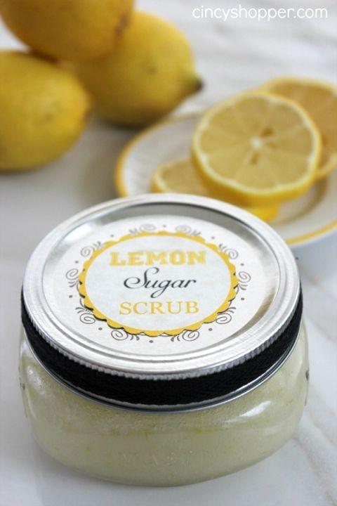Lemon sugar scrub for tea party favors