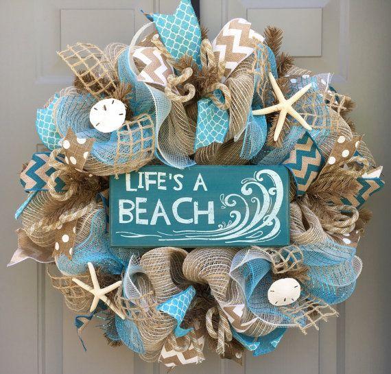 Life's a Beach Burlap/Deco Mesh Wreath with by BeautifulMesh