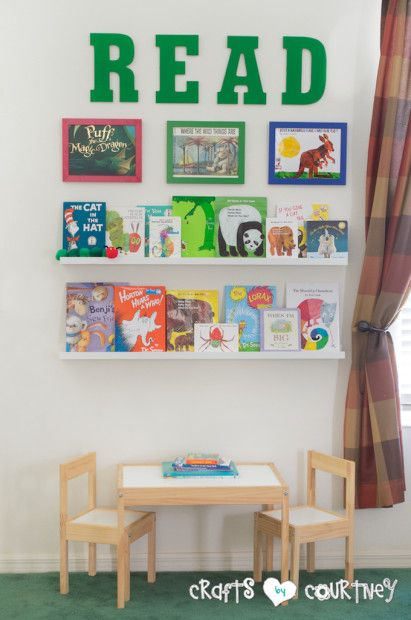 Create a Reading Nook Using Ikea Picture Ledge, Picture Frames and Table and Chairs