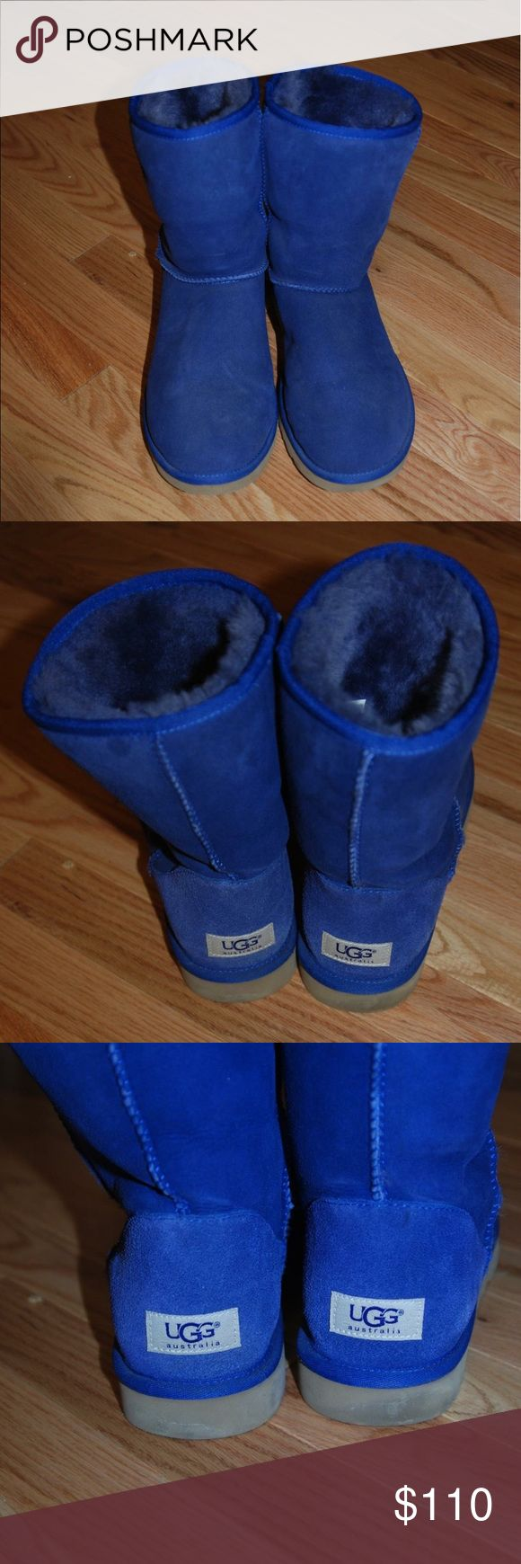 Classic short Uggs Classic short Ugg boots in a beautiful vibrant blue color! Purchased directly from the Ugg website a few years ago and only worn a few times! Very mild wear! Great condition! Women's size 9. UGG Shoes Winter & Rain Boots