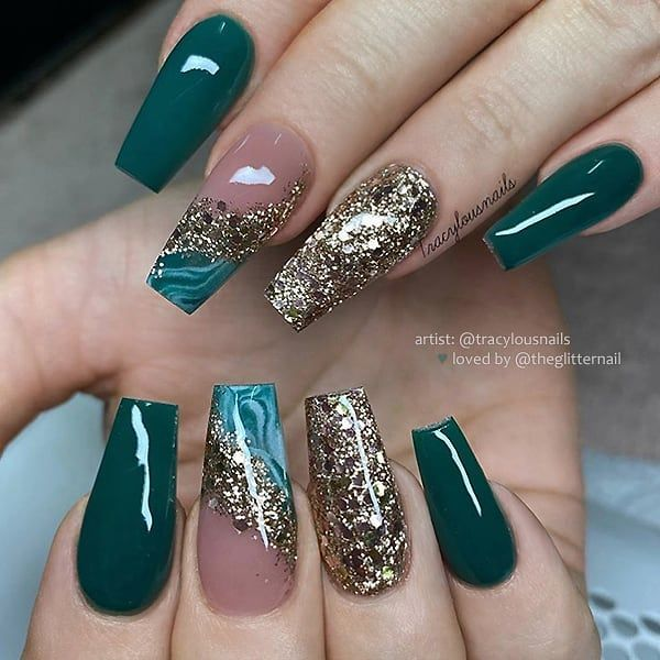 Theglitternail Get Inspired On Instagram Emerald Green With Marble And Gold Glitter On Coffin Nai In 2020 Green Nails Green Nail Designs Nail Designs Glitter