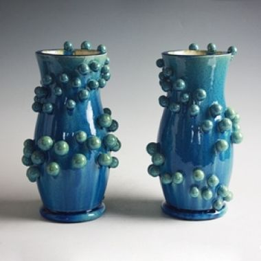 A Pair of Atomic Spiral Vases, 2011, by Kate Malone.
