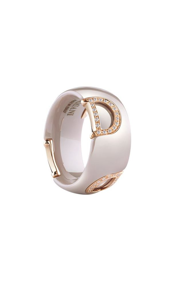 D.Icon cappuccino ceramic and pink gold ring with diamonds