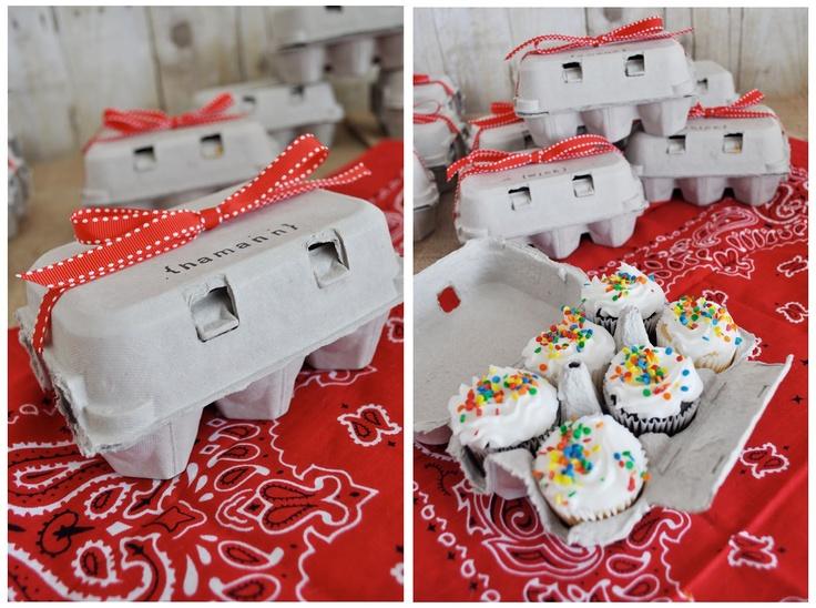 Farm birthday party egg crate / mini-cupcake favors