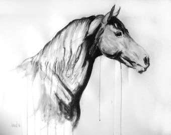 Energía original y movimiento equino caballo pintura mixta caballo arte movimiento dibujo 'Ocle III' por H Irvine