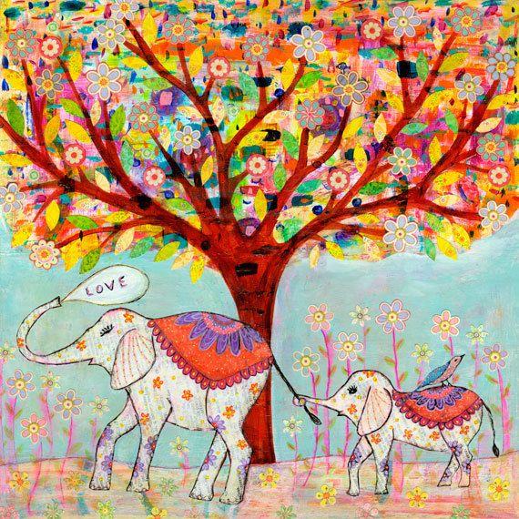 Indian Elephants, Painting on Wood Jungle Theme, Baby Nursery, Painting for Nursery Decor, Mummy and Baby Elephant. $35.00, via Etsy.