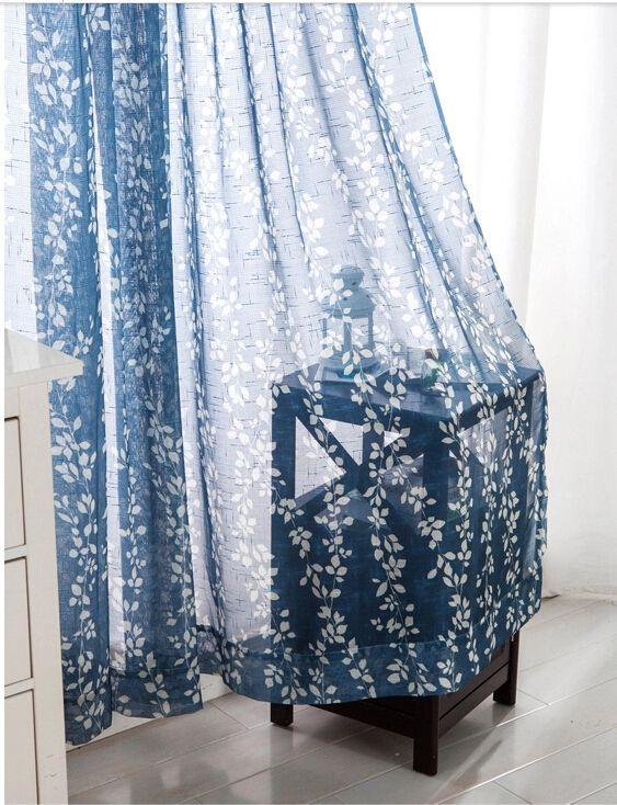 Leaf Design Printing Blue Contemporary Sheer Curtains, Buy Blue print Sheer Curtains, Cheap Curtains Sale