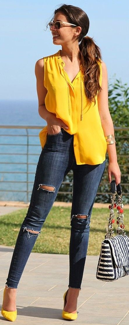 #summer #trending #outfits |  Yellow + Denim